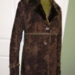 Express  Medium Brown Suede Leather Coat Long